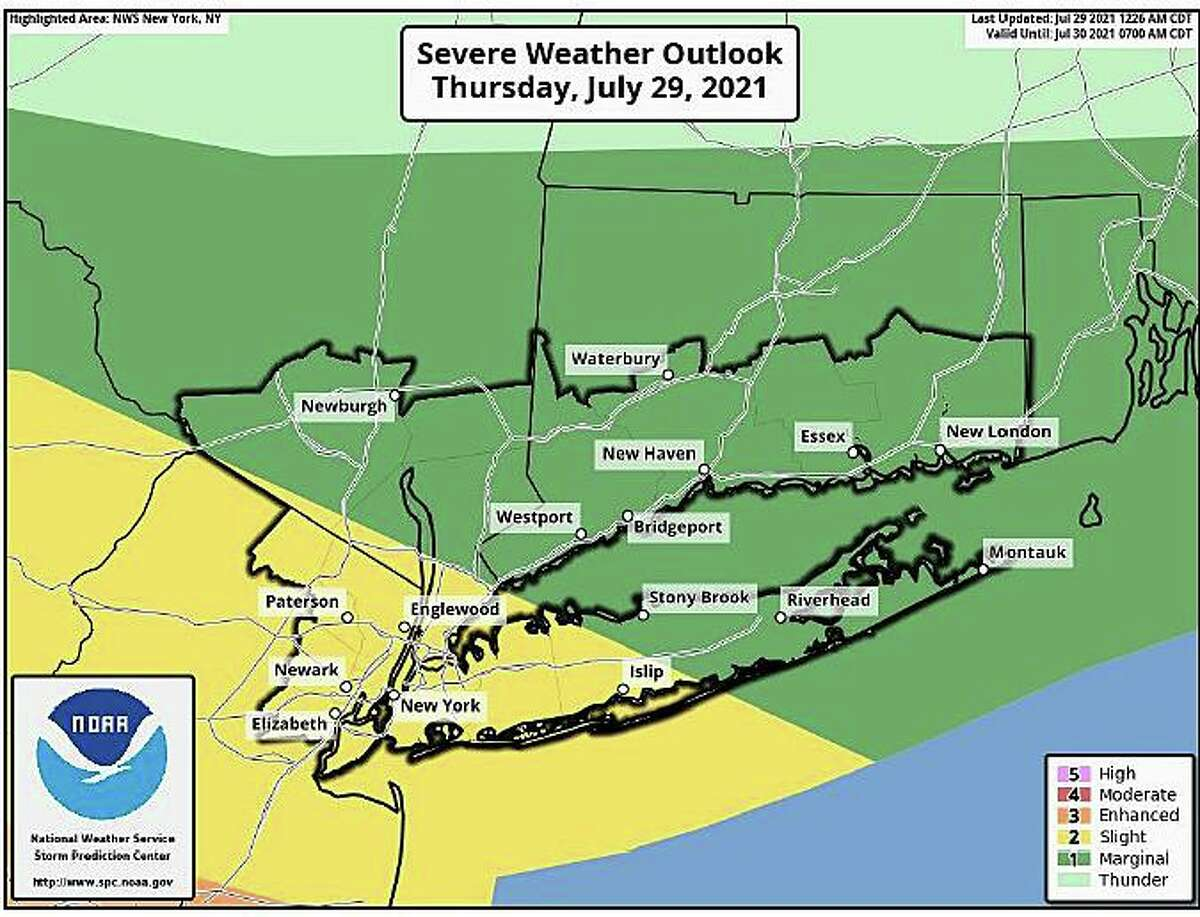 A map showing the possibility of severe weather on Thursday, July 29, 2021.