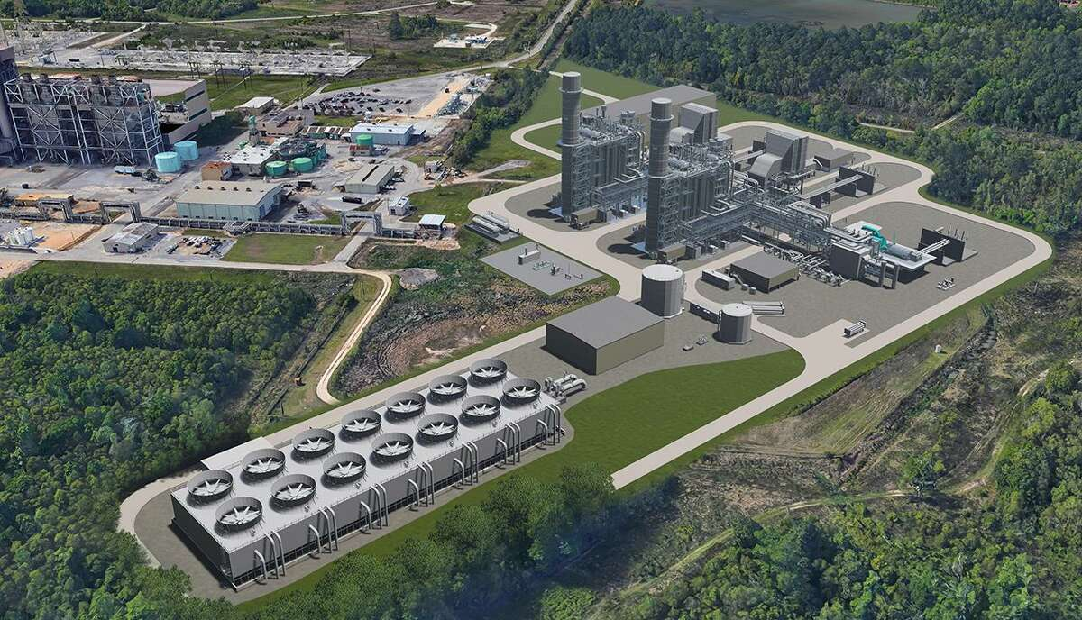 A rendering of the Orange County Advanced Power Station, a natural gas and hydrogen burning power plant that Entergy Texas predicts will generate enough electricity to power more than 230,000 homes by 2026, if approved by regulators.