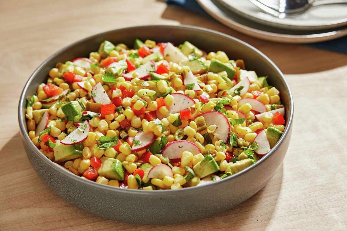 Corn Salad With Avocado, Pickled Jalapeño and Cilantro.