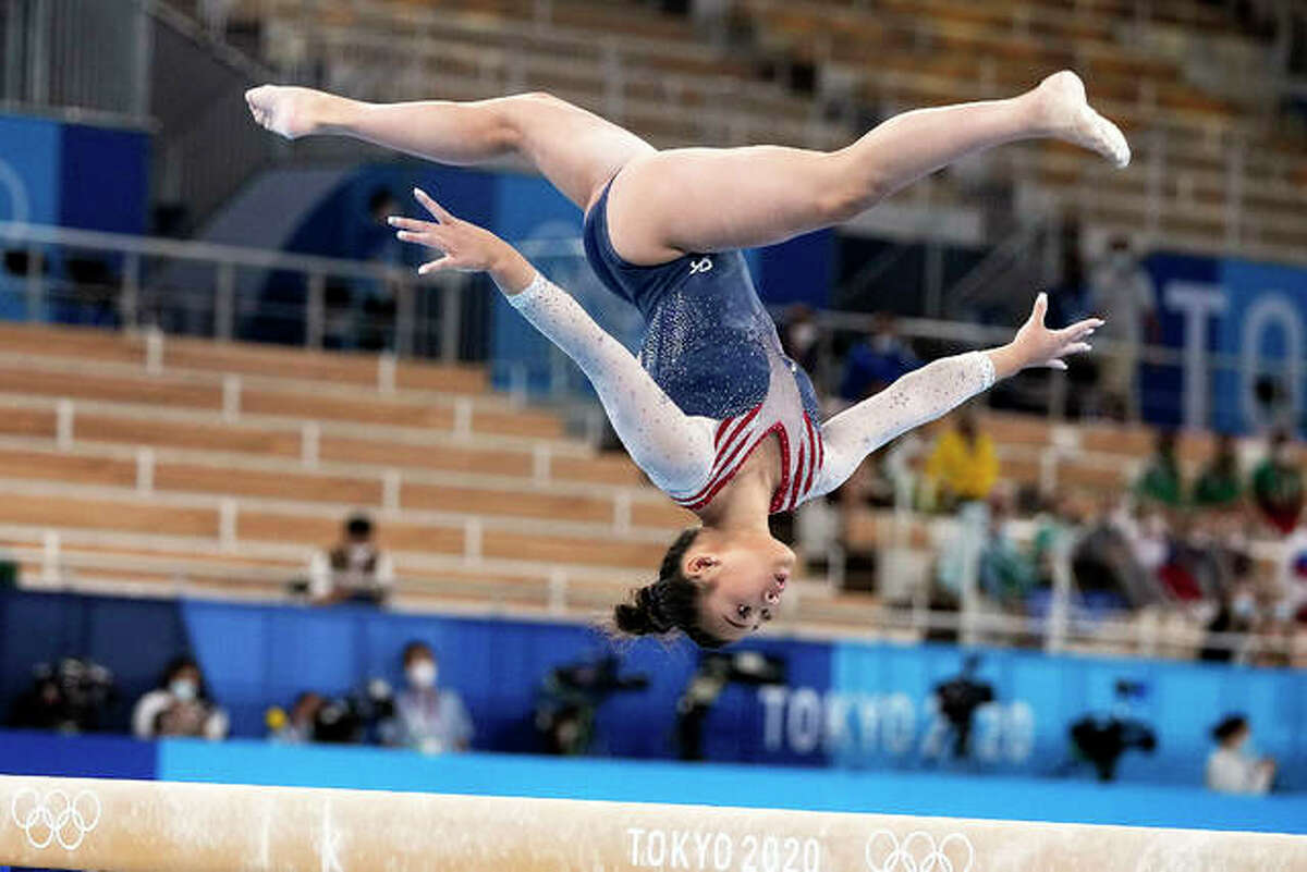 Sunisa Lee, of the United States, performs on the balance beam during the artistic gymnastics women's all-around final Thursday at the 2020 Summer Olympics in Tokyo.