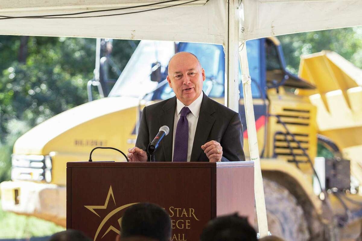 Lone Star College Chancellor Dr. Stephen C. Head speaks to a crowd assembled for the LSC-Creekside Center groundbreaking ceremony. Head leads one of the largest community college systems in the nation.