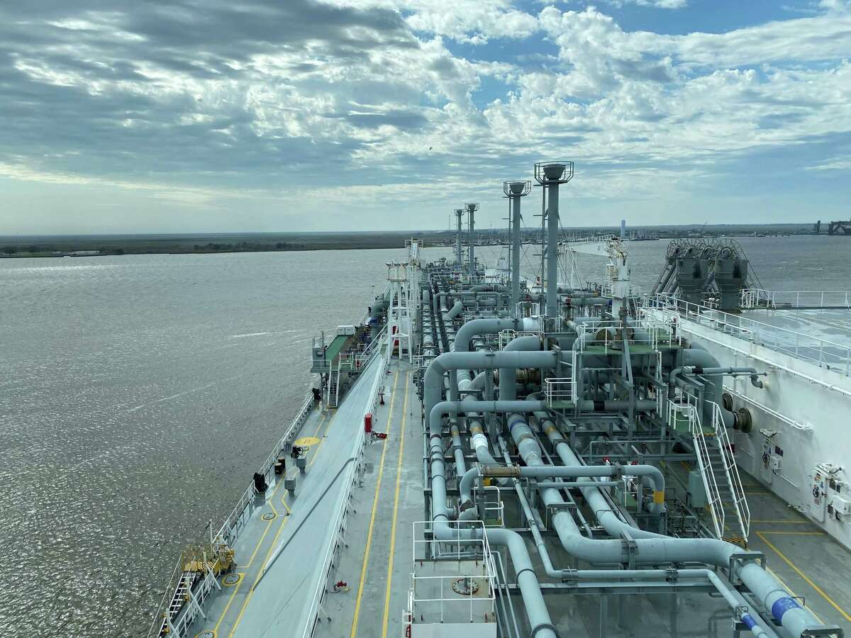 A liquefied natural gas tanker docked at Cheniere Energy's Sabine Pass LNG export terminal. LNG produces about half the carbon dioxide emissions of black coal when burned to generate electricity, and demand for the cleaner-burning fuel has been on the rise.