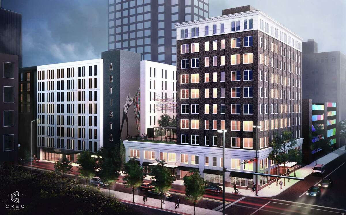 A rendering of the Artista San Antonio hotel, left, and an office building Harris Bay plans to convert to residential units.