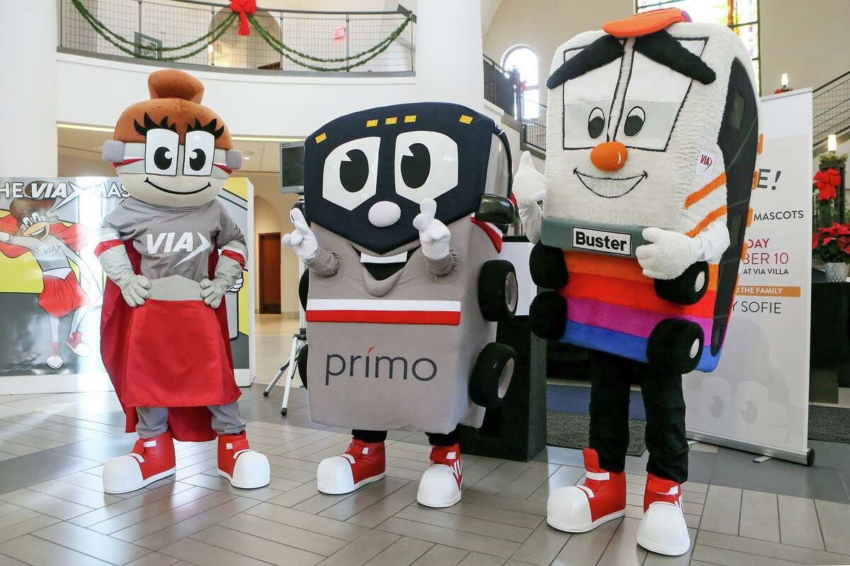In 2016, VIA Metropolitan Transit introduced two new mascots, Safety Sofie, left, and Prímo, with the help of Buster.