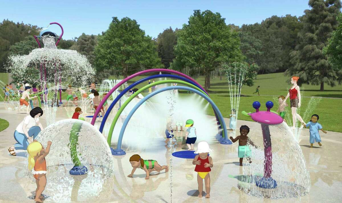 """With its zero-depth design, the inclusive """"bean design"""" concept of the Splash Pad to be installed in Hemlock Park promotes safe play for different age groups. (Courtesy/Jon Coles)"""