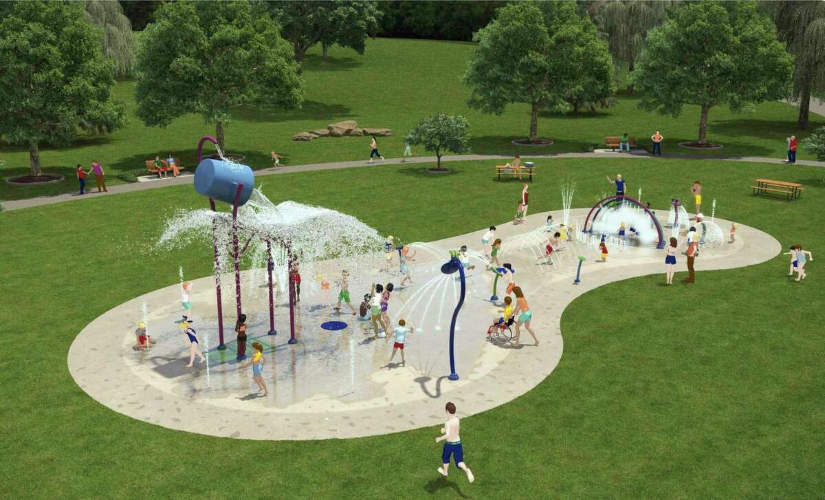 This is a proposed drawingconcept of the Splash Pad to be installed in Hemlock Park, which promotes safe play for different age groups. (Courtesy/Jon Coles)