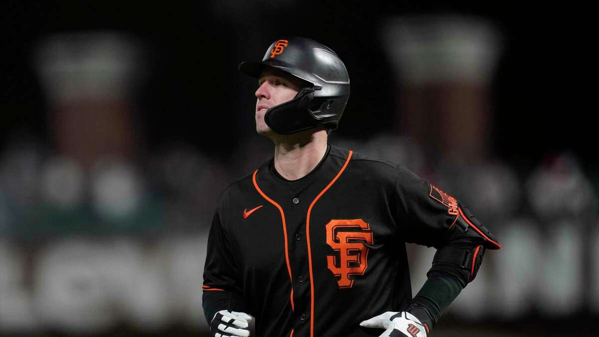 San Francisco Giants' Buster Posey against the Pittsburgh Pirates during a baseball game in San Francisco, Saturday, July 24, 2021. (AP Photo/Jeff Chiu)