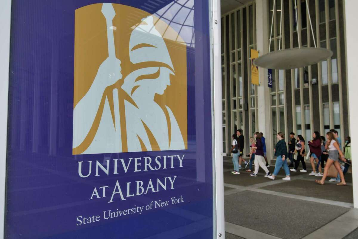 A group of people tour the UAlbany campus on Thursday, July 29, 2021, in Albany, N.Y. (Paul Buckowski/Times Union)