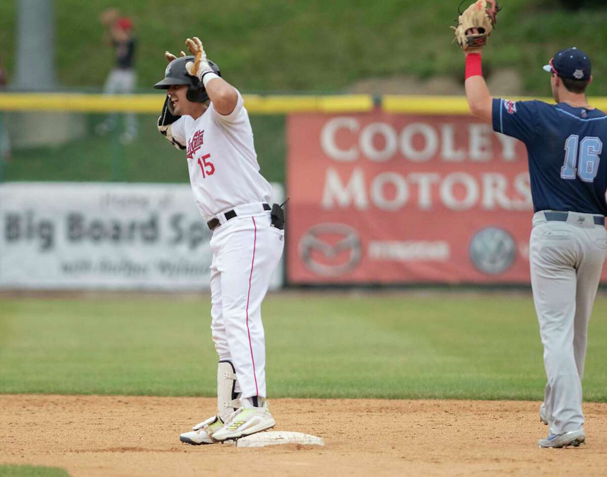 Tri-City's Chris Kwitzer makes antler gestures after hitting a double during a Camp Day baseball game against the New York Boulders at Joseph L. Bruno Stadium on Thursday, July 29, 2021, in Troy. (Lori Van Buren/Times Union)