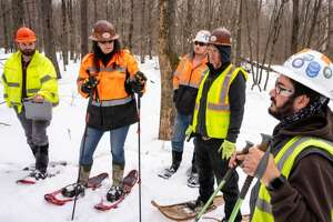 Workers with The Wesson Group had to snowshoe to the Bluestone Wind Farm site back in the spring. Now there are roads.