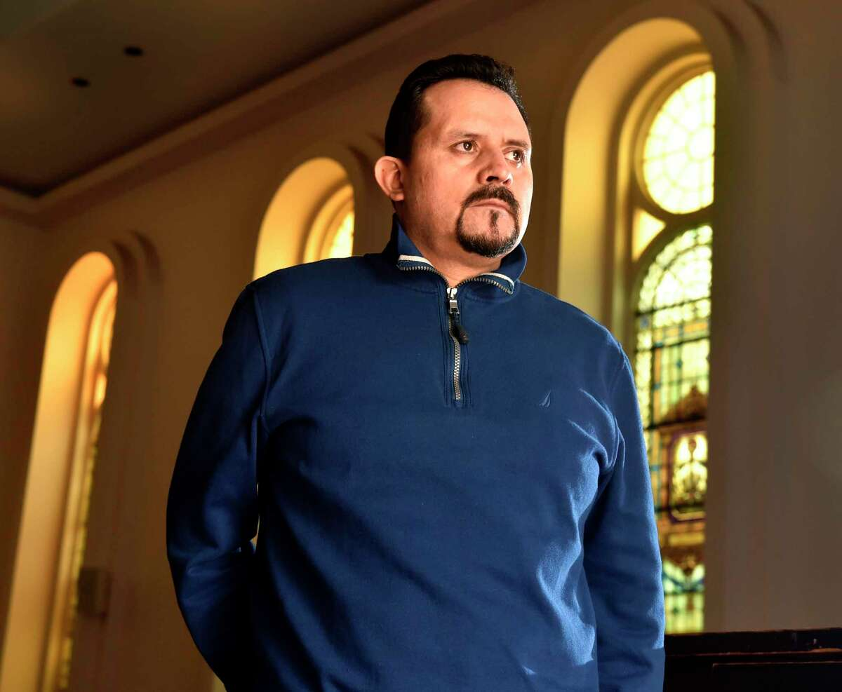 Nelson Pinos, photographed in October 2018 at the First and Summerfield United Methodist Church in New Haven, where he took sanctuary from deportation.