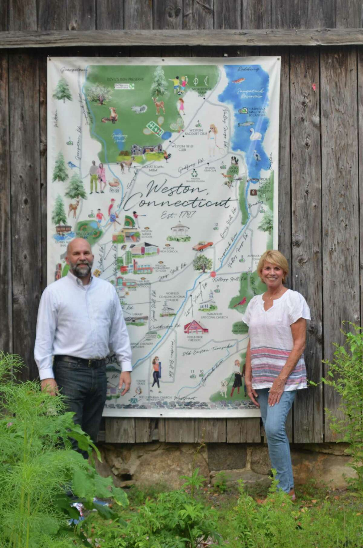 Kirby Brendsel (left) and Amy Jenner (right), the Weston Republican-endorsed candidates for First Selectman and Board of Selectmen, respectively, in the November 2021 municipal elections.