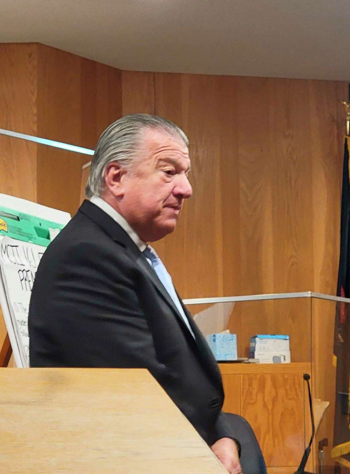 During a trial in Benzie County's 19th Circuit Court,efense attorney Craig Elhart argues that his client, Taylor Manol, did not have any intent to kill his neighbor,Alexander Sarantos, and therefore not guilty offirstor second degree murder. (Colin Merry/Record Patriot)