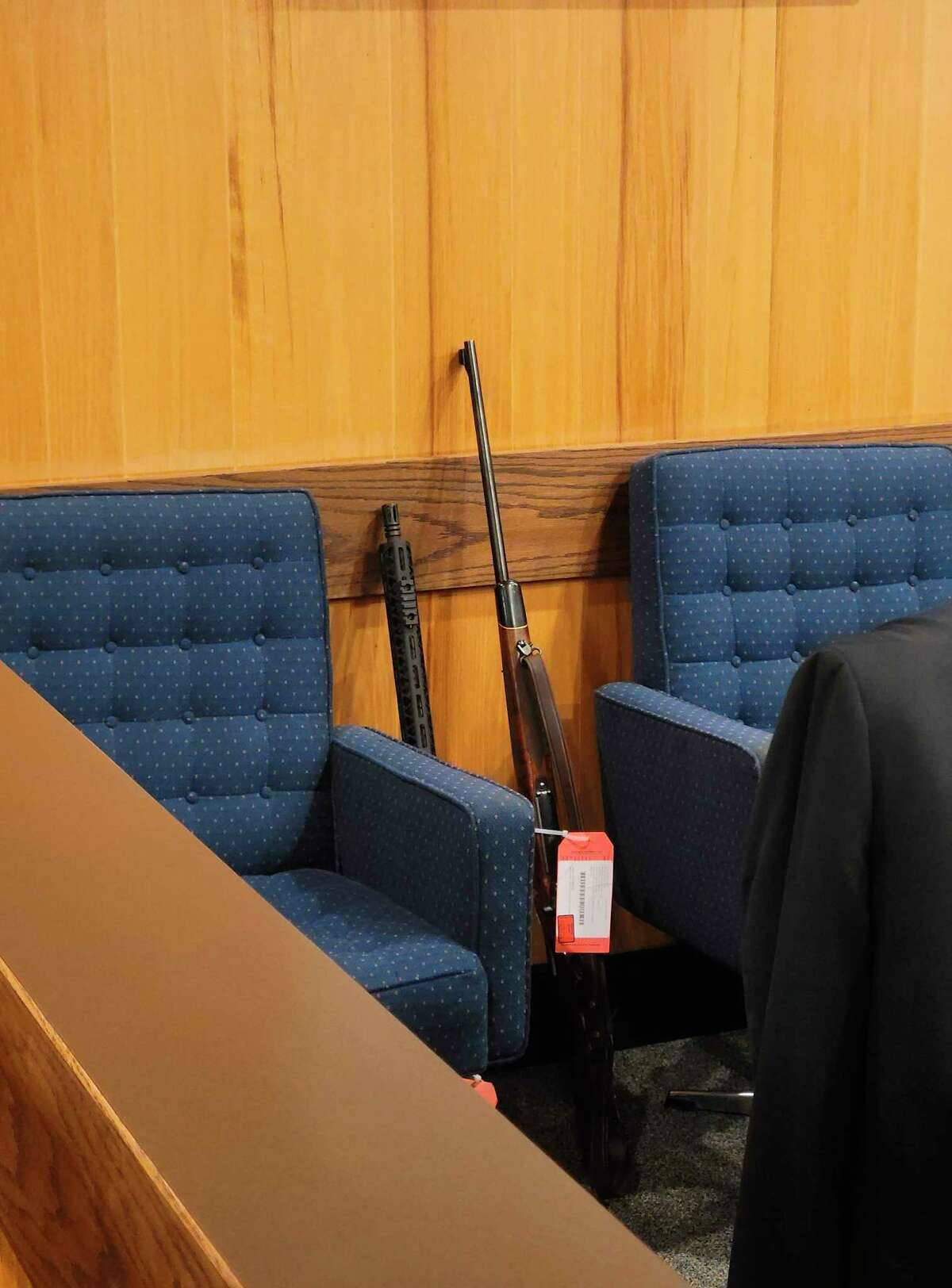 An AM-15 rifle and a .7mm bolt-action rifle recovered from Taylor Manol's house were positively identified as the weapons that were fired intoAlexander Sarantos' house causing his death. Manol was on trialin Benzie County's 19th Circuit Court.(Colin Merry/Record Patriot)