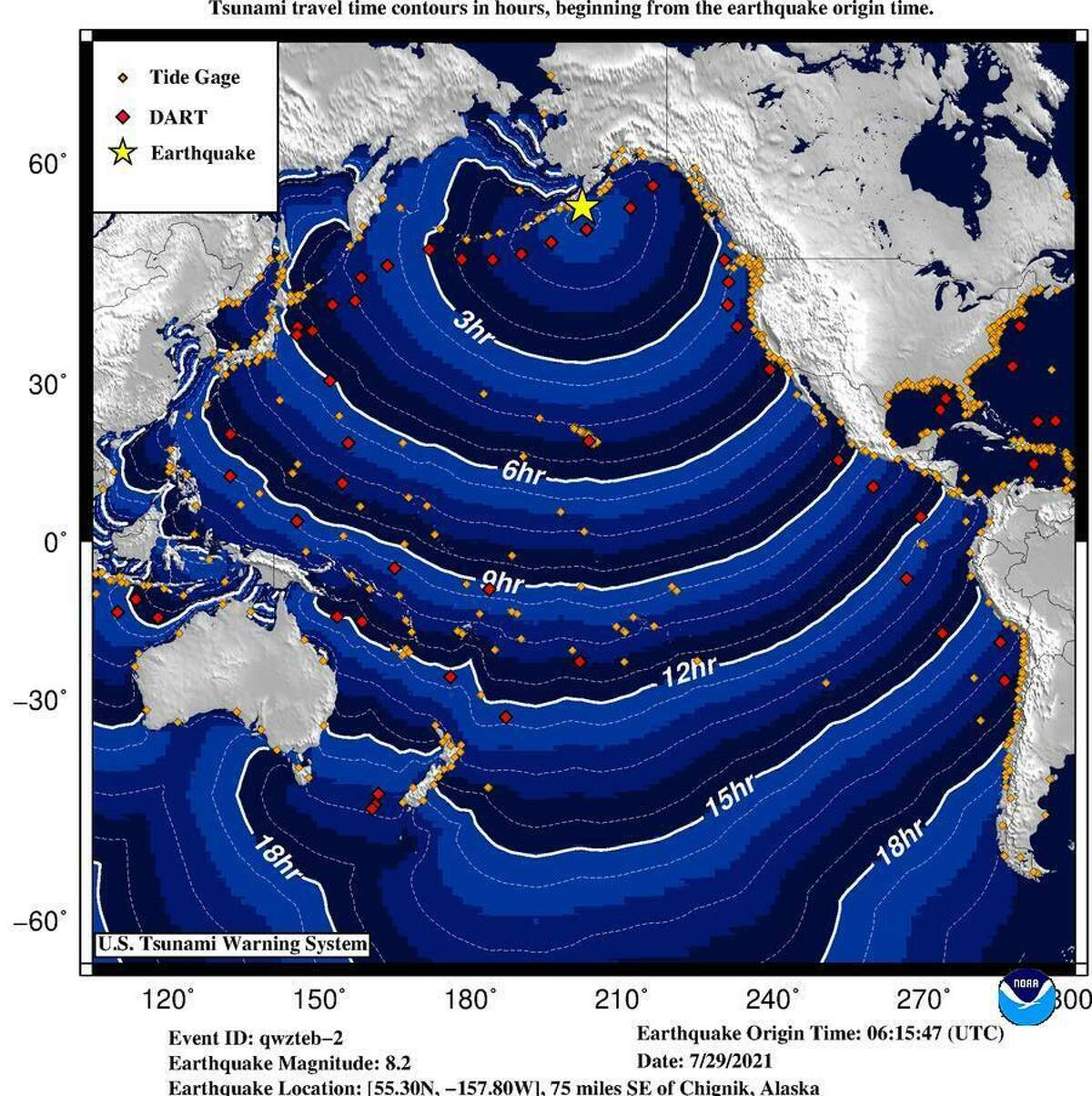 A National Weather Service map showing the rippling waves emanating from an 8.2-magnitude earthquake near Alaska.