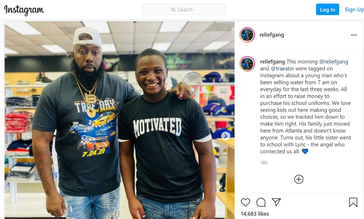 Rapper and Houston ambassador Trae tha Truth takes a young man shopping after a Facebook post went viral of him near local Exxon gas station selling water to raise money for school clothes.