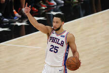 Ben Simmons of the Philadelphia 76ers calls out to his teammates against the Atlanta Hawks during the first half of game 4 of the Eastern Conference Semifinals on June 14, 2021.