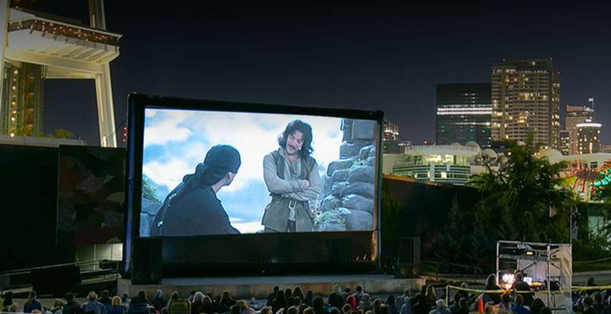 Movies at the Mural in Seattle Center.