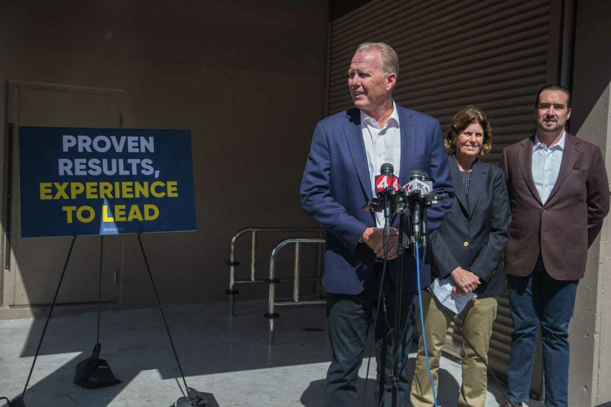 Former San Diego Mayor, Kevin Faulconer, a Republican running in the 2021 California gubernatorial recall election, discusses his campaign in front of a shuttered Walgreens in San Francisco on Tuesday.