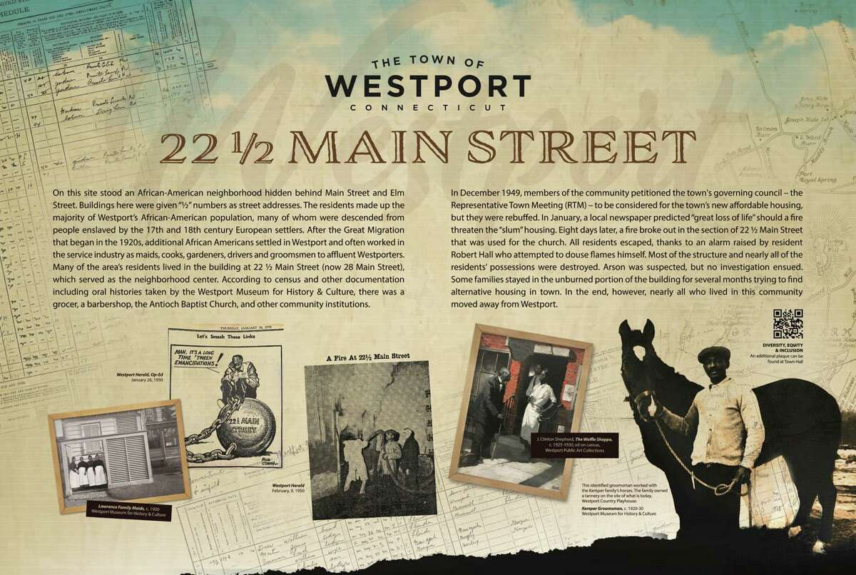 The text of the new historical marker at 22 1/2 Main St. in Westport.