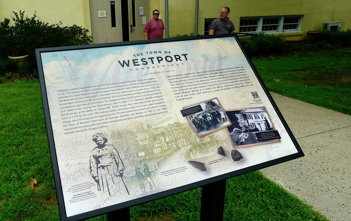 New inclusive historical markers, provided by the Town of Westport, the Westport Museum of History and Culture and TEAM Westport, in behindTown Hall, Thursday July 29, 2021, in Westport, Conn.