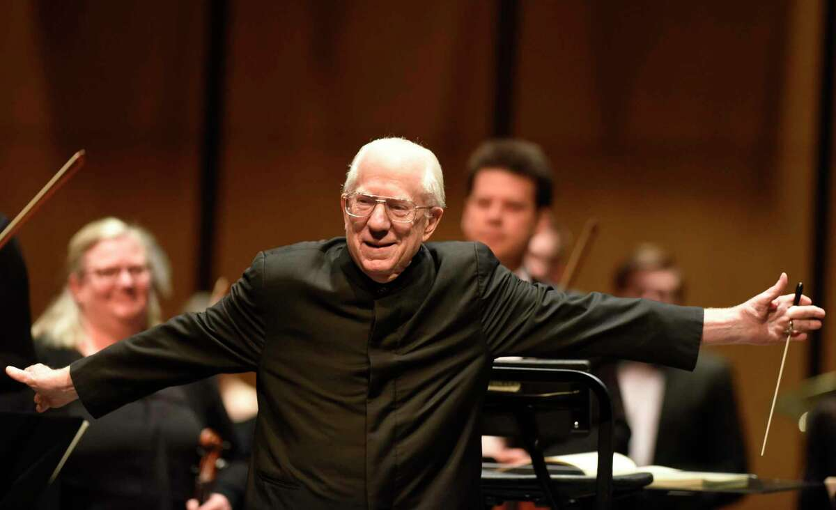Conductor David Gilbert speaks before the Greenwich Symphony All-Beethoven Program at Greenwich High School's Performing Arts Center in Greenwich, Conn. Sunday, Feb. 23, 2020. He retired last year after 45 years with the orchestra.