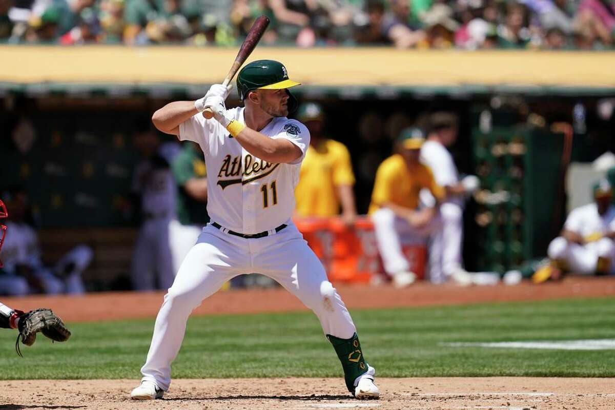 Oakland Athletics' Jacob Wilson against the Los Angeles Angels during a baseball game in Oakland, Calif., Tuesday, July 20, 2021. (AP Photo/Jeff Chiu)