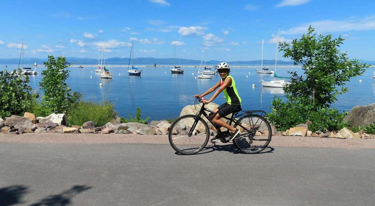Riding the bike path near Lake Champlain south of Burlington, Vt.