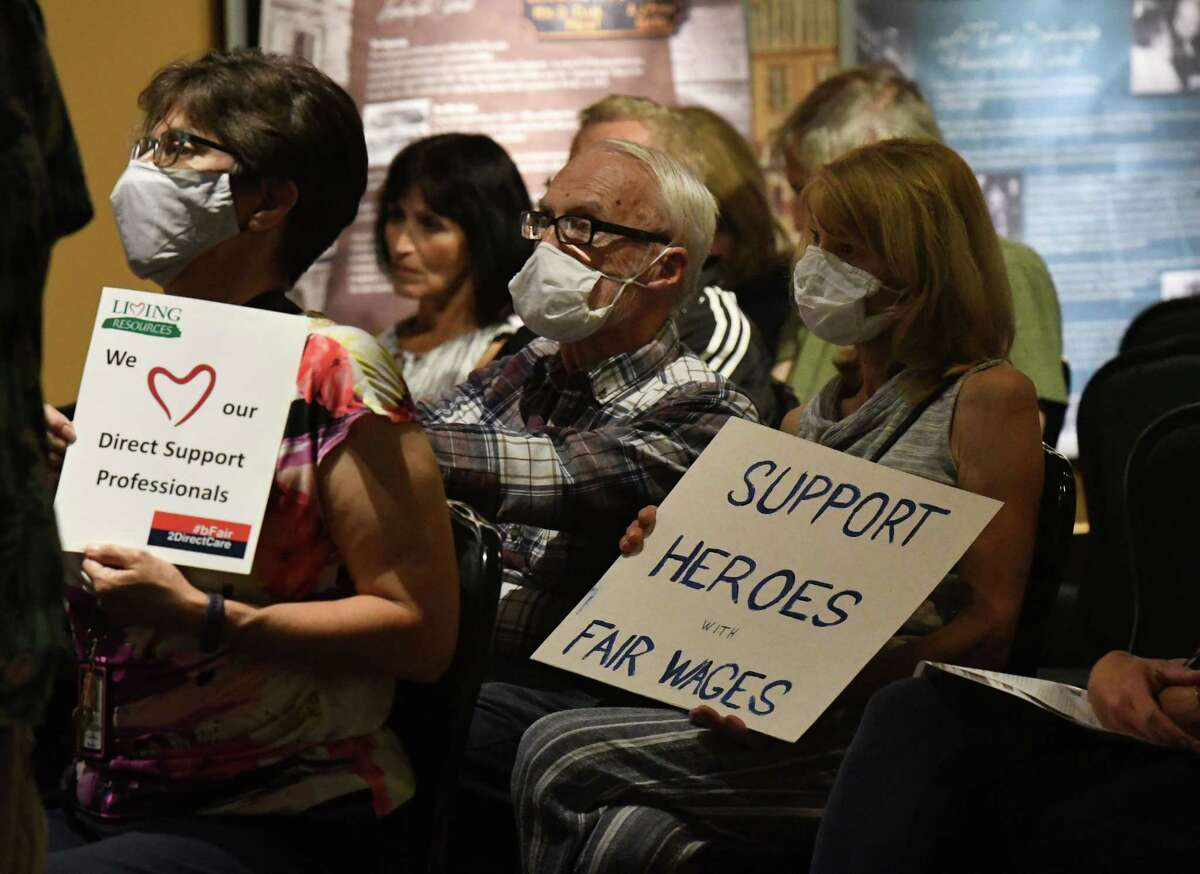 """Advocates for the Schenectady ARC gather for a rally at Proctors to draw attention to what the center says is a ?""""crisis?• in retaining and recruiting staff on Thursday, July 29, 2021, in Schenectady, N.Y."""