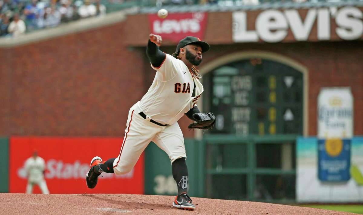 San Francisco Giants starting pitcher Johnny Cueto (47) in the first inning during an MLB game against the Los Angeles Dodgers at Oracle Park, Thursday, July 29, 2021, in San Francisco, Calif.