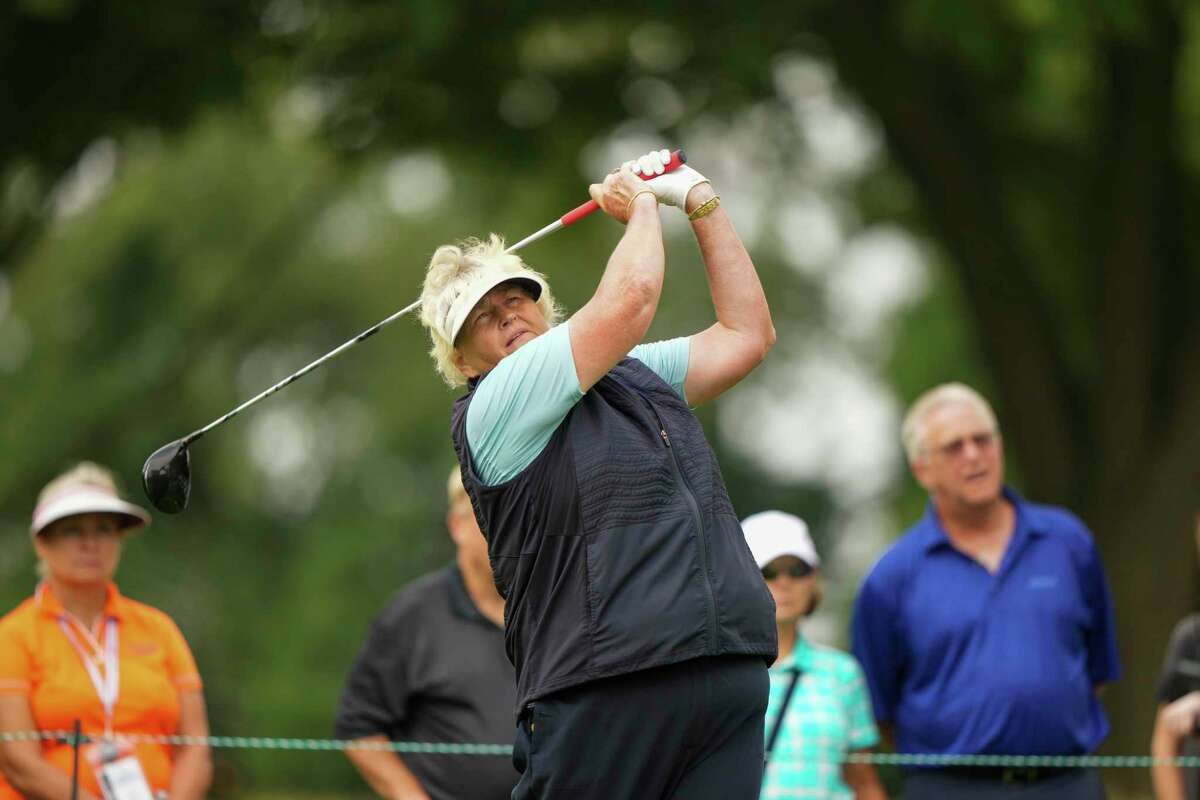 Laura Davies tees off on the seventh hole at the Senior U.S. Women's Open at Brooklawn CC on Thursday.