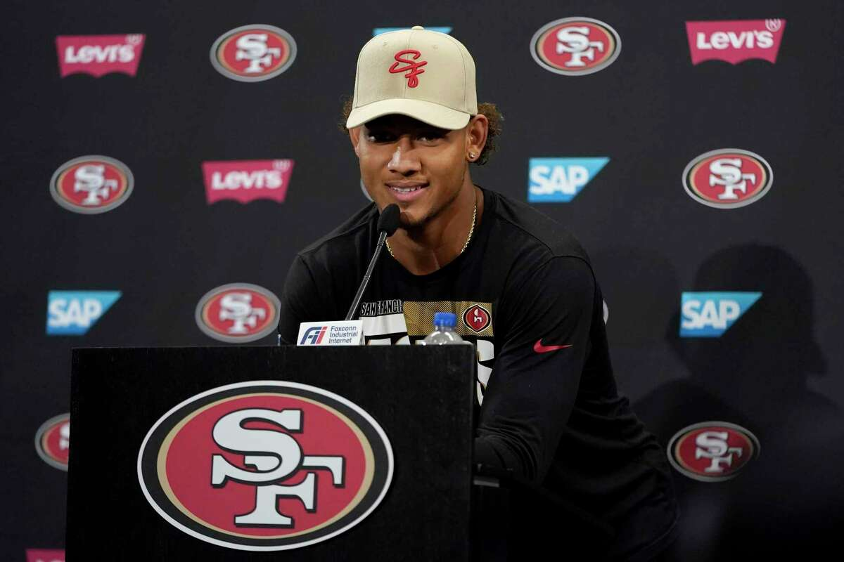 San Francisco 49ers quarterback Trey Lance speaks during a news conference at NFL football training camp in Santa Clara, Calif., Thursday, July 29, 2021. (AP Photo/Jeff Chiu)