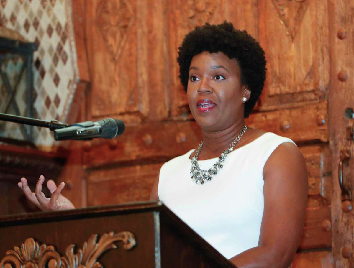 LaToya Carter speaks during the Athena leadership award luncheon, Thursday, July 29, 2021, in Conroe