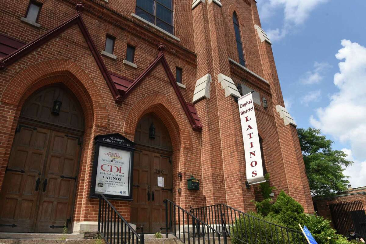 Exterior of the Capital District Latino's Cultural Empowerment and Community Engagement Center in the former St. John?•s Lutheran Church on Wednesday, July 28, 2021, on Central Avenue in Albany, N.Y. Its slate roof has started to crumble, falling into the courtyard below.