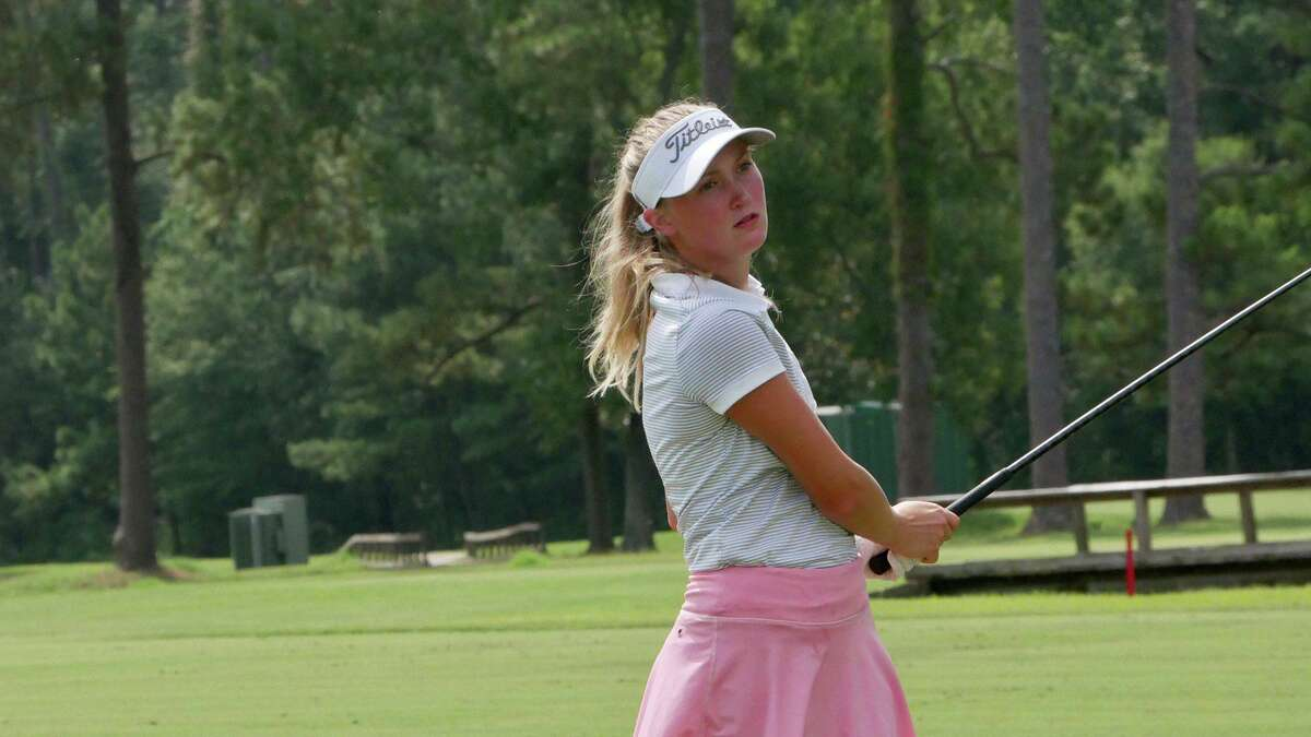 Hardin-Jefferson graduate Makenna Henry looks on after taking a swing during the Babe Zaharias Open.