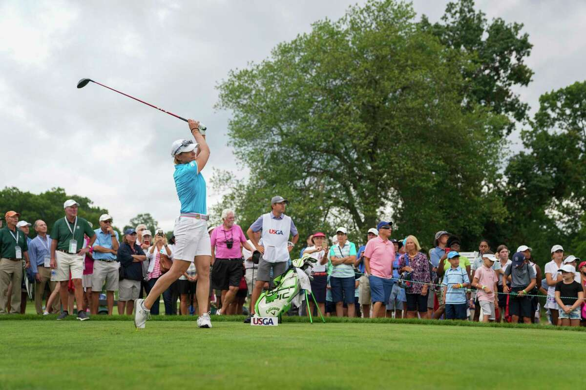 Annika Sorenstam watches one fo her shots at the Senior U.S. Women's Open at Brooklawn CC on Thursday.