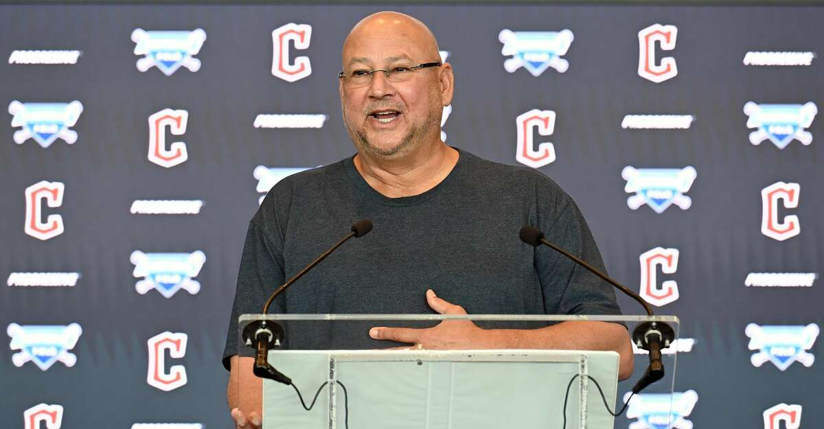 Manager Terry Francona of the Cleveland Indians talks to members of the media during a press conference announcing the name change from the Cleveland Indians to the Cleveland Guardians at Progressive Field on July 23, 2021 in Cleveland, Ohio. (Photo by Jason Miller/Getty Images)