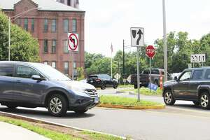 Both Spring Street (shown here) and Rome Avenue, which are adjacent to Macdonough Elementary School, will soon become one-way to ensure pedestrian and student safety.