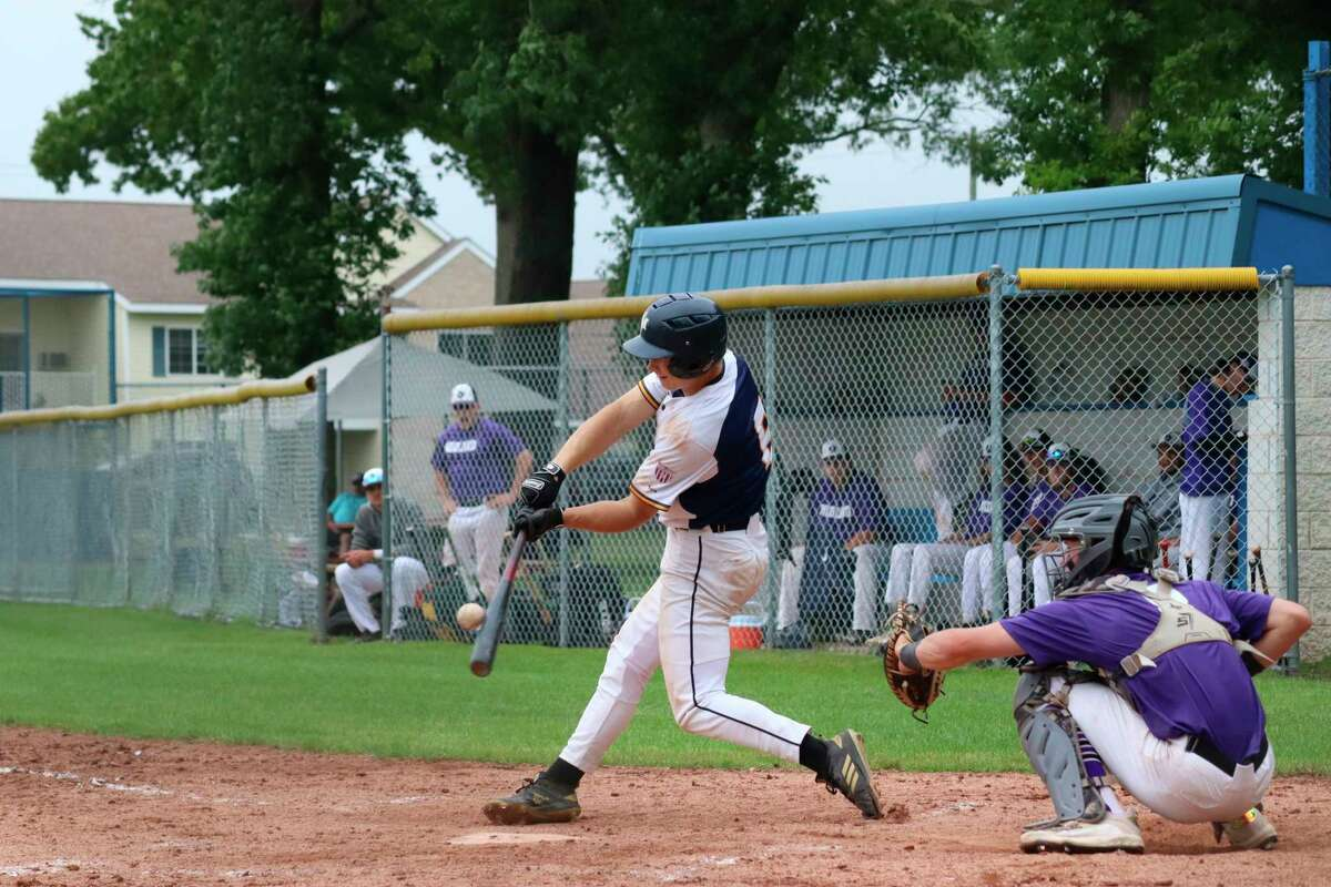 Sam Schmitt finds his pitch during a game against the Midland Tribe on June 27. (News Advocate file photo)