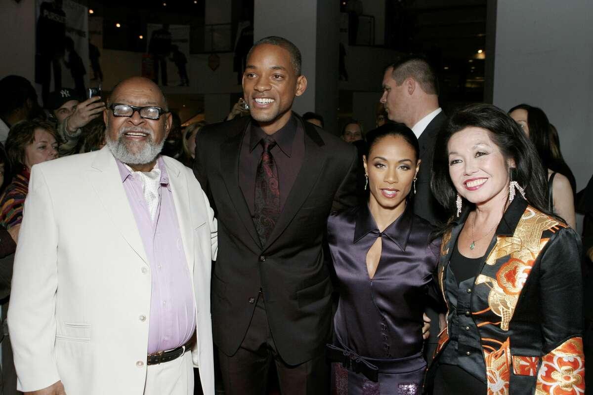 From left, Rev. Cecil Williams, Will Smith, Jada Pinkett Smith and Janice Mirikitani.