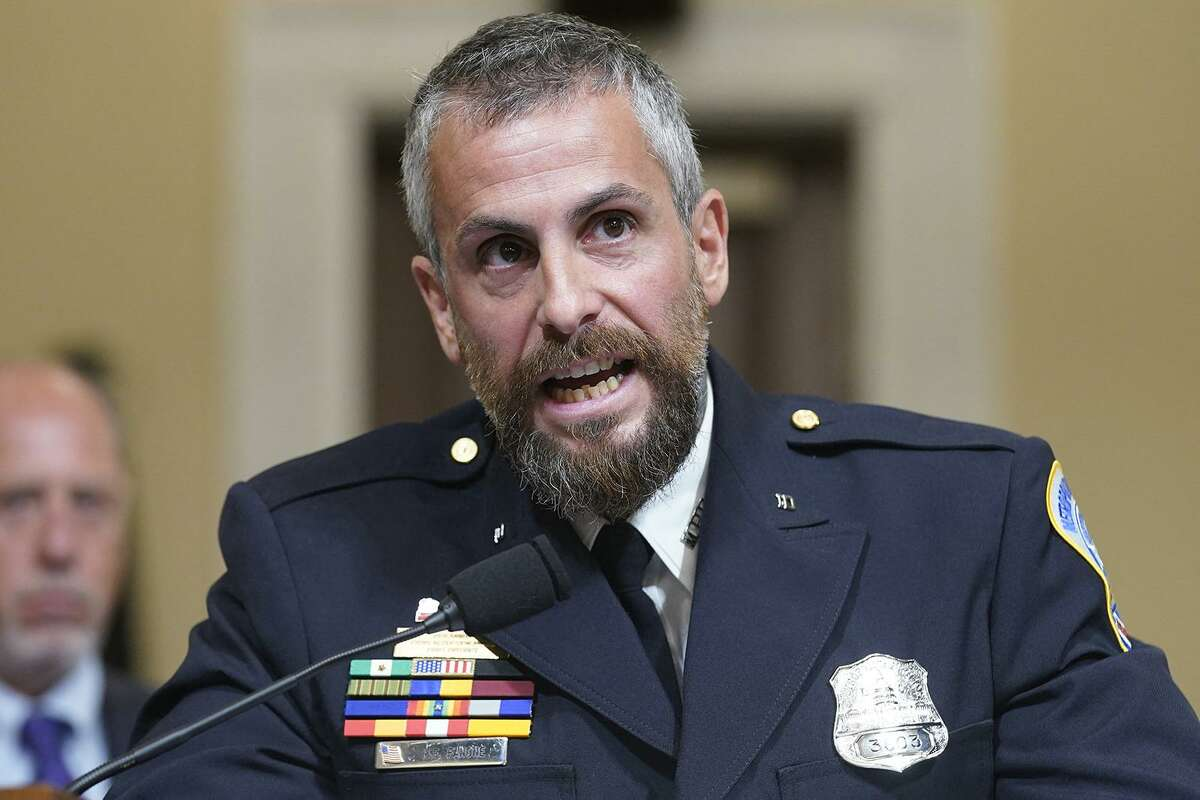 Washington Metropolitan Police Department officer Michael Fanone testifies during the House select committee hearing on the Jan. 6 attack on Capitol Hill in Washington, DC, USA, on Tuesday, July 27, 2021.