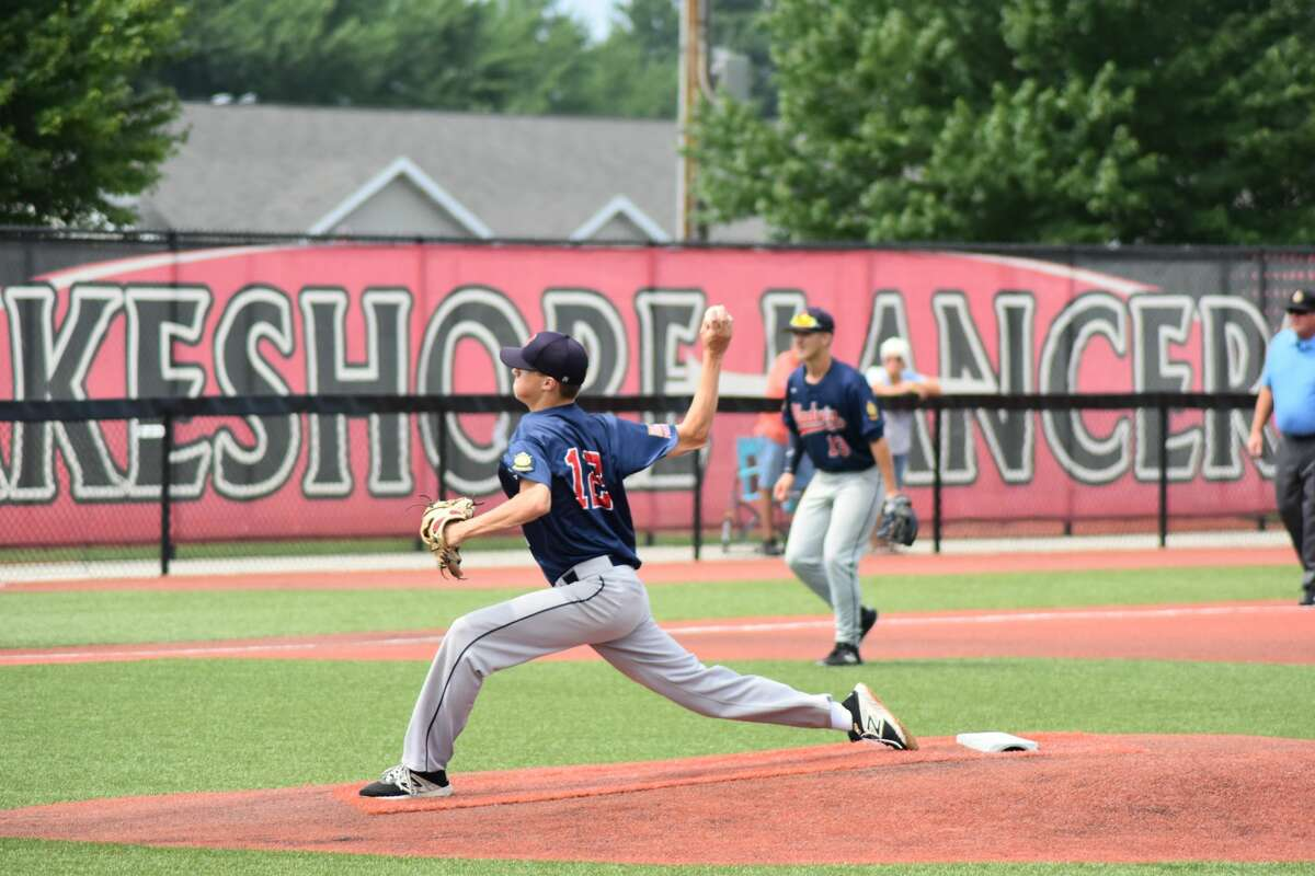 Gladwin Post 171's Carson Oldani delivers a pitch against Mount Pleasant Post 110 in the winners' bracket semifinal of the American Legion Baseball state tournament in Stevensville, July 29, 2021.