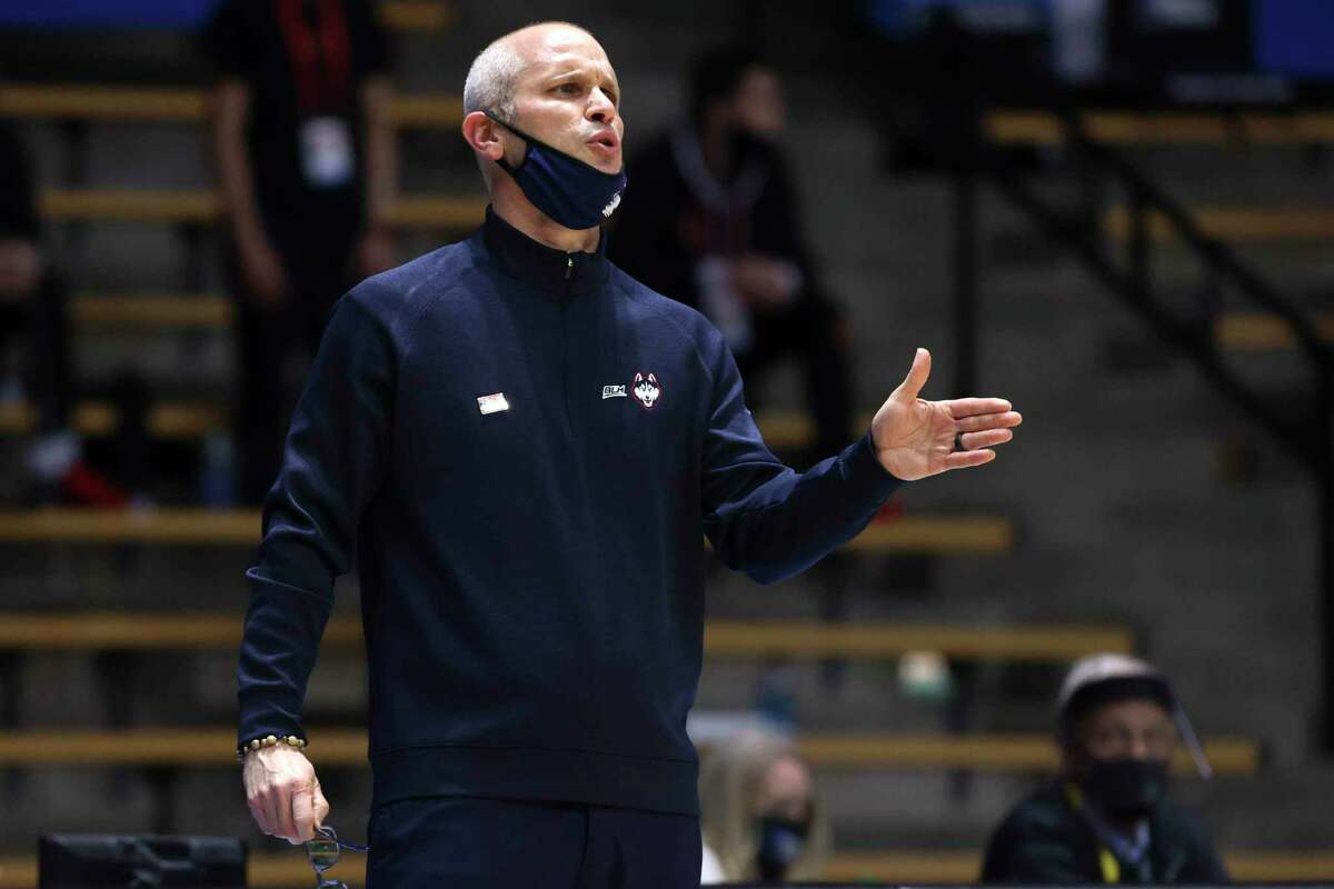 WEST LAFAYETTE, INDIANA - MARCH 20: Head coach Dan Hurley of the Connecticut Huskies looks on during the first half against the Maryland Terrapins in the first round game of the 2021 NCAA Men's Basketball Tournament at Mackey Arena on March 20, 2021 in West Lafayette, Indiana. (Photo by Gregory Shamus/Getty Images)