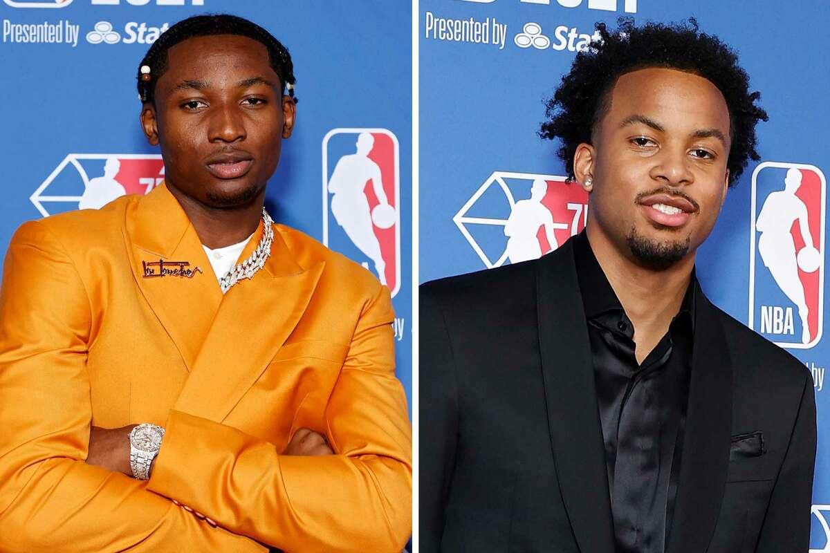 The Warriors selected G League Ignite forward Jonathan Kuminga, left, with the draft's No. 7 pick and Arkansas alum Moses Moody with the No. 14 pick.