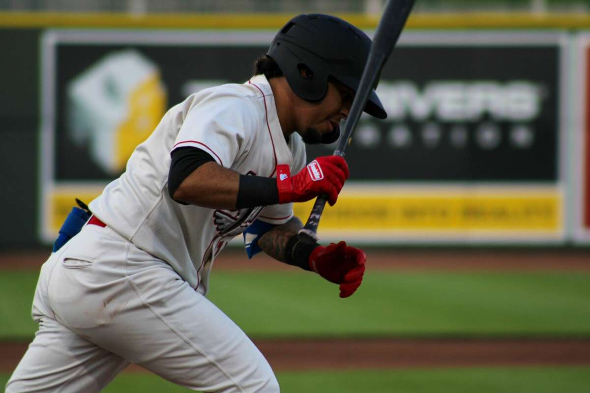 Loons second baseman Kenneth Betancourt runs out a ground ball on July 29 against West Michigan at Dow Diamond