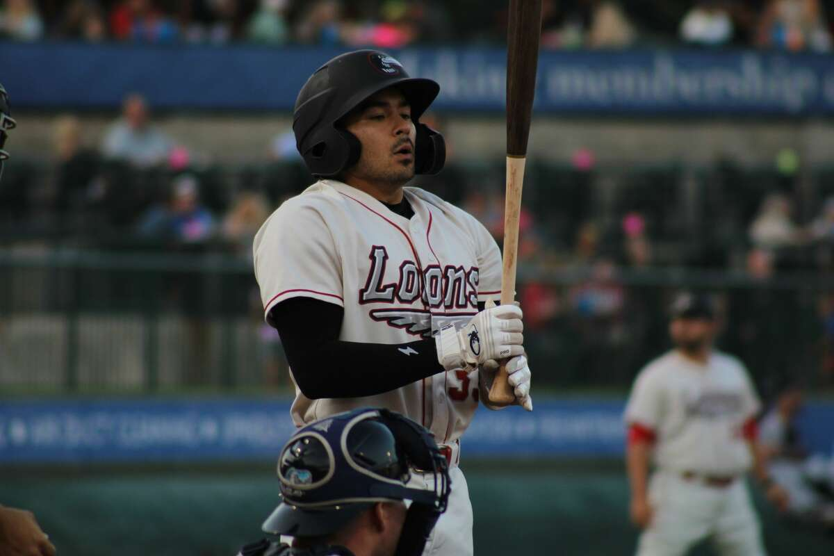 Loons shortstop Zac Ching readies to bat against West Michigan on July 29 at Dow Diamond