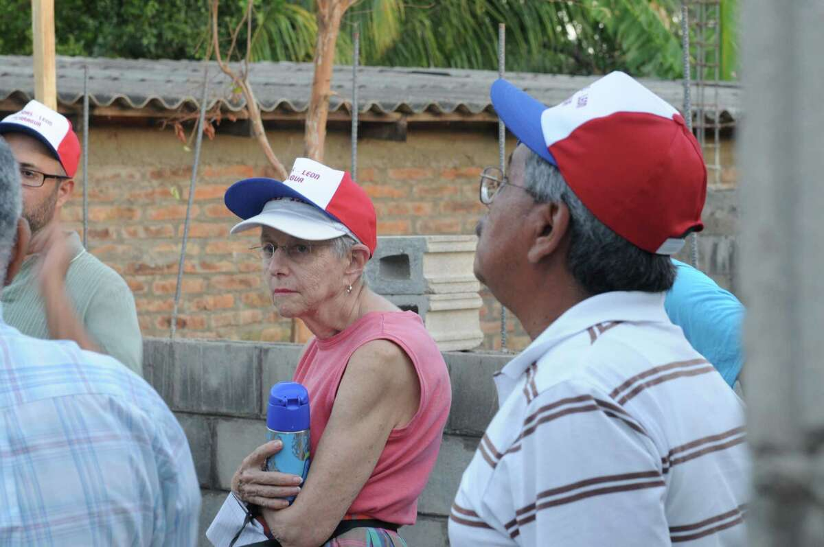 Tish Gibbs, who helped start the Norwalk/Naragote Sister City Project, during a visit to Nagarote to view the progress of a community center. Gibbs died on July 22, 2021 at age 85.