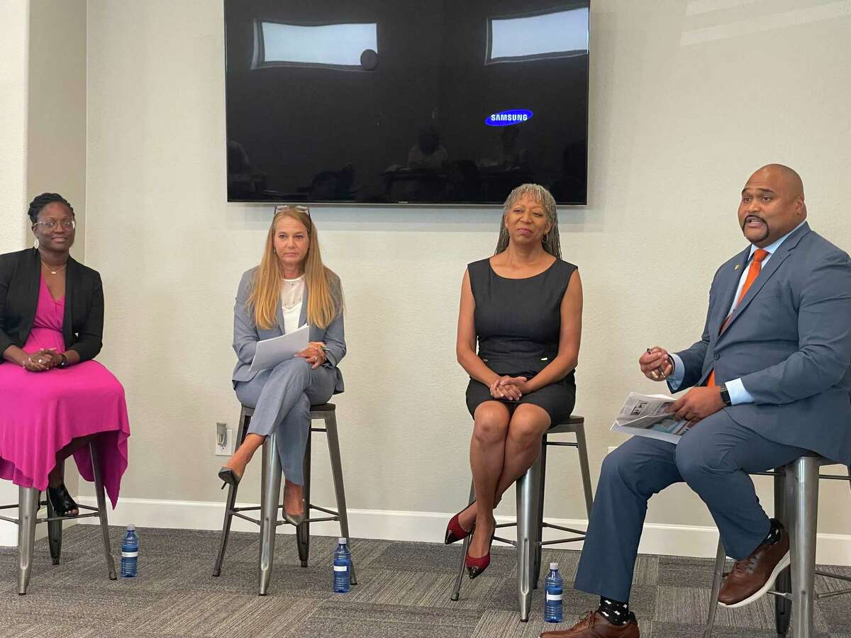 From left: Dr. Senee Bell, Dr. Christine Caskey, Dr. Tracey Weeden and Dr. Robert Long III discuss learning slide due to COVID-19 at a Katy Area Chamber of Commerce panel on July 29, 2021.