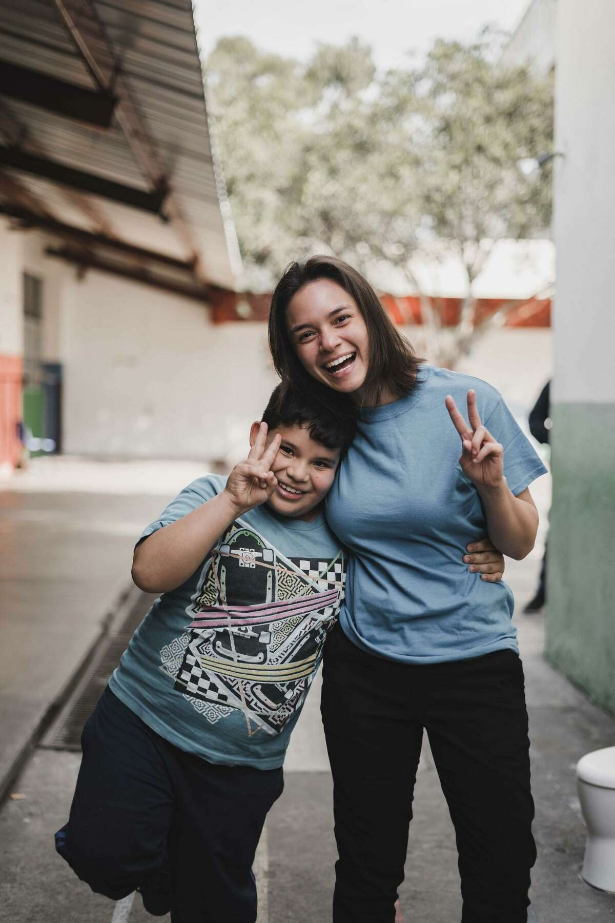 Gabrielle Molina with a student in Guatemala.