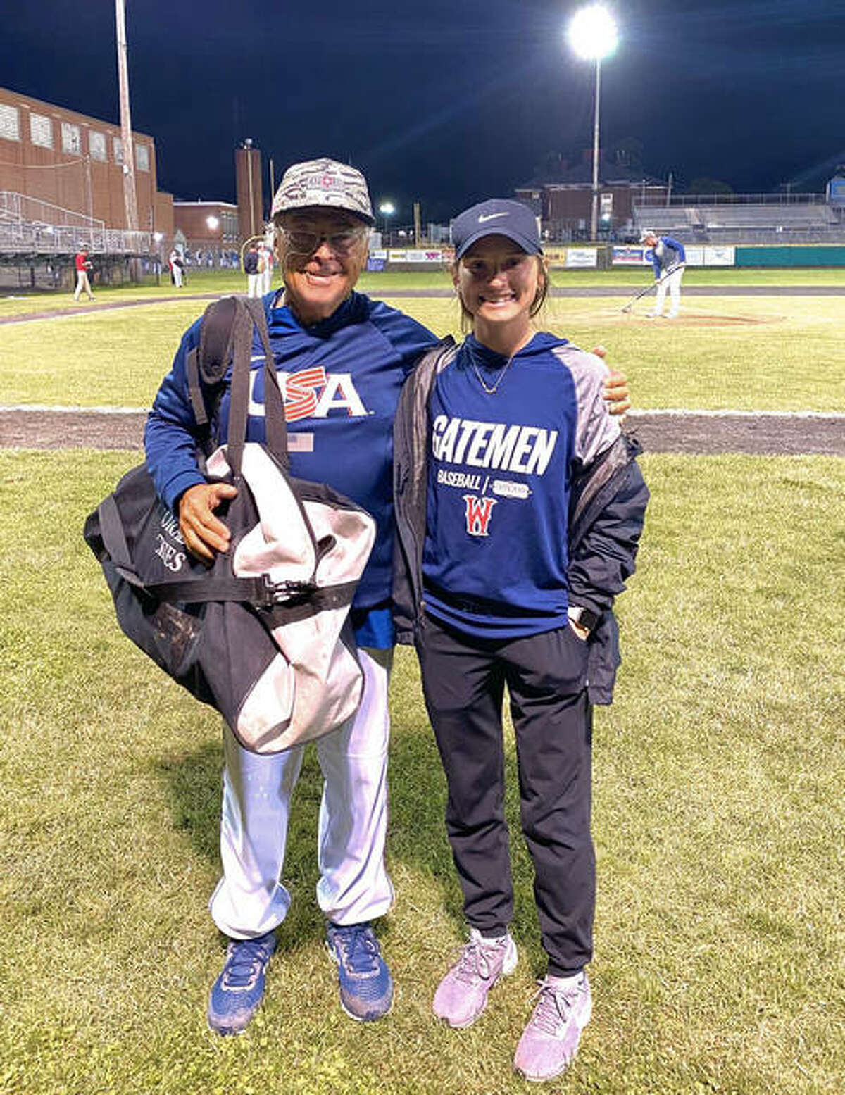 Lauren Taplin, right, worked with and learned from Colorado Rockies coach Jerry Weinstein this summer in the Cape Cod League. Weinstein is a coach for Team USA at the Olympics.